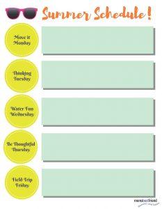 Weekly Summer Schedule